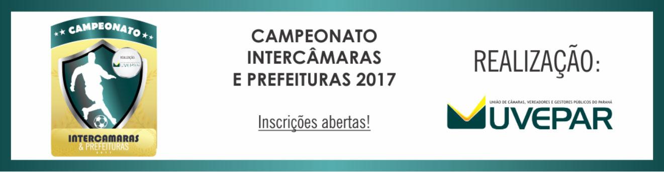 Inscrição para o Campeonato Intercâmaras e Prefeituras 2017